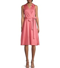 gal meets glam women's collared wrap dress - rose mist - size 00