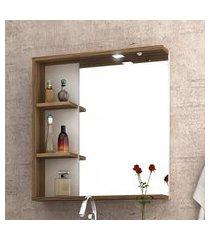 espelheira p/ banheiro bosi lara com luminária led e tecla nogal/branco