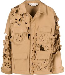 marni distressed military jacket - brown