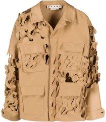 marni distressed military jacket - brown