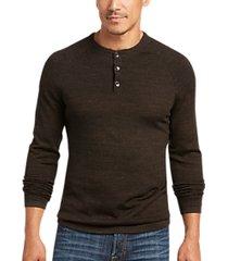 joseph abboud bark brown modern fit henley sweater