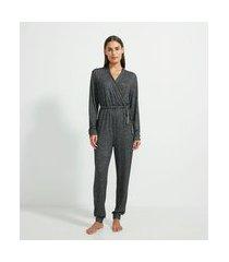 pijama macacão em tricô com decote v e amarração na cintura | lov | cinza | p