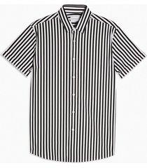 mens black and white stripe slim shirt