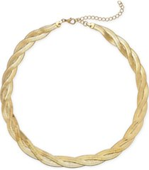 "braided herringbone chain collar necklace, 16-1/2"" + 3"" extender"