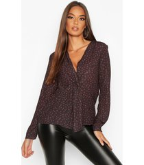 ditsy print knot front blouse, black