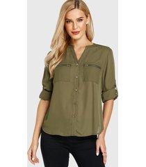 yoins bolsillo con cuello en v verde militar diseño blusa de manga larga