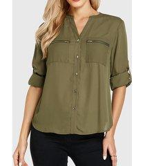 yoins bolsillo con cuello de pico verde militar diseño blusa de manga larga