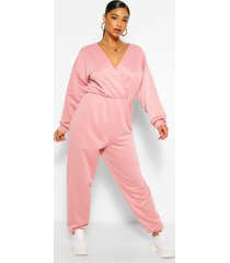 plus sweatstof loopback wikkel jumpsuit, blush
