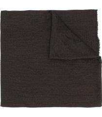 rick owens frayed edge long scarf - brown
