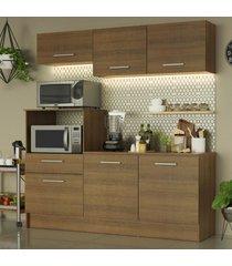 cozinha compacta madesa onix 180001 com armário e balcão - rustic marrom