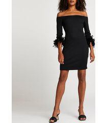river island womens black feather bardot dress
