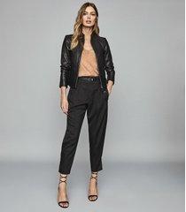 reiss allie - leather collarless biker jacket in black, womens, size 10