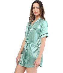 kimono dama color aguamarina womanpotsherd ref: coat satin