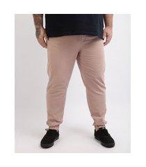 calça de sarja masculina plus size jogger skinny rosê