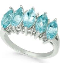 aquamarine (2-1/2 ct. t.w.) & diamond accent ring in 14k white gold