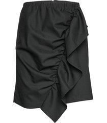 front drape mini skirt kort kjol svart designers, remix