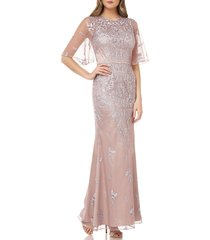 women's js collections floral embroidered evening gown, size 8 - beige