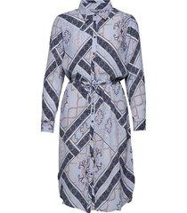 frhascarf 1 dress knälång klänning blå fransa