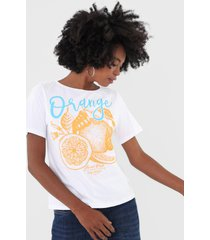 camiseta my favorite thing(s) orange branca