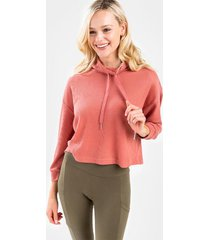 lesly waffle knit pullover - rose