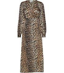 silk stretch satin wrap dress jurk knielengte bruin ganni