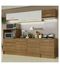 cozinha completa madesa onix 240002 com armario e balcão rustic/branco 5z6e rustic/rustic/branco