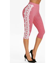 high waisted lace panel knee length leggings