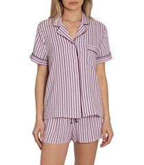 women's in bloom by jonquil beautiful dreamer stripe short pajamas, size large - pink (nordstrom exclusive)