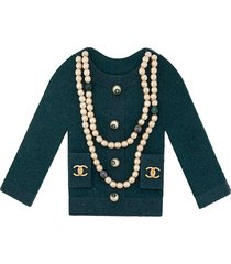chanel pre-owned pearl embellished cardigan brooch - blue