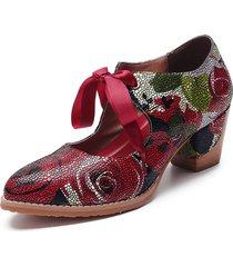 socofy super comfy bloom rose stitching lace up casual dress décolleté in pelle per le donne