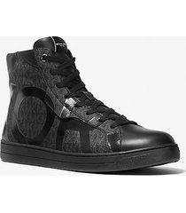 mk sneaker keating alta con stampa logo - nero (nero) - michael kors