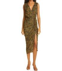 women's veronica beard teagan tiger stripe print ruched silk dress