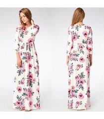 vestido largo estampado floral para mujer correa con cuello en v vestidos de playa divididos media manga suelta vestidos-blanco y rosa