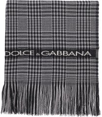 dolce & gabbana prince of wales scarf with logo