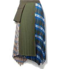paneled asymmetric checked twill, crepe and cotton-canvas skirt