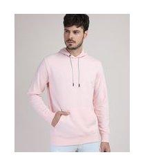 blusão de moletom masculino com capuz e bolso canguru rosa claro