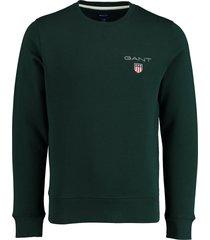 gant pullover donkergroen met logo 2056002/374