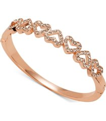 charter club rose gold-tone pave open heart bangle bracelet, created for macy's