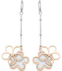 orecchini fiore in acciaio bicolore e lurex per donna