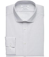 calvin klein infinite non-iron white & gray tic slim fit dress shirt