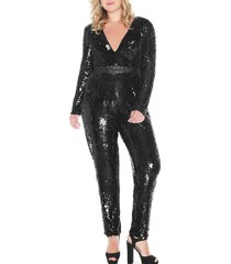 plus size women's mac duggal sequin long sleeve jumpsuit