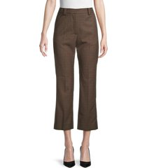sandro women's staino check kick flare trousers - size 40 (l)