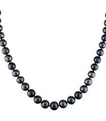 sonatina women's 14k white gold & black round tahitian pearl necklace