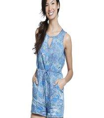 macaquinho bon com recorte & bolsos azul - azul - feminino - dafiti