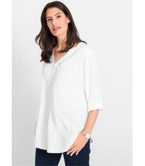 viscose blouse met v-hals, lange mouw