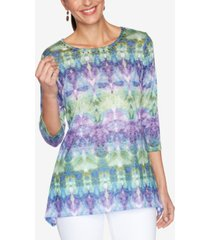 ruby rd. plus size knit embellished tie-dye top