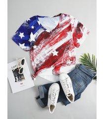 camiseta de manga corta con cuello en v y estrella de día de la independencia de talla grande