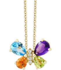 "effy multi-gemstone (2 ct. t.w.) & diamond accent butterfly 18"" pendant necklace in 14k gold"