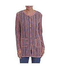 100% alpaca sweater jacket, 'stripe celebration' (peru)