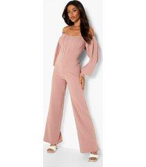 getailleerde wide leg jumpsuit met uitgesneden hals, dusty pink